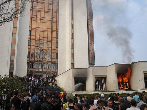 Presedinţia la Chisinau in flacari la 7 aprilie 2009