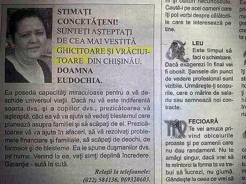 Anunt cu ghicitoare într-un ziar din Moldova