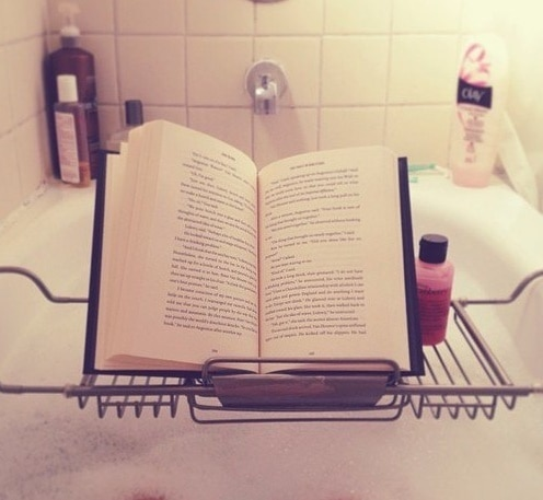 reading in bathroom