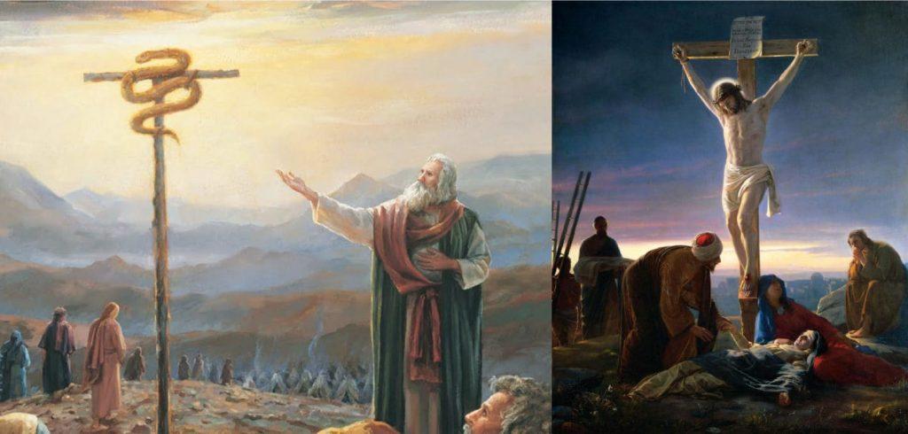 Isus răstignit și Moise înalță șarpele