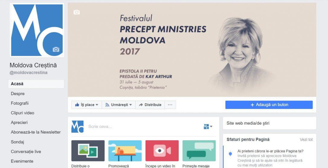 Pagina de facebook a portalului Moldova Creștină